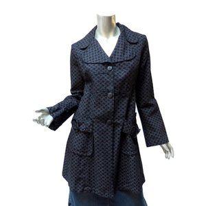 Retro Desigual Buckle Coat Black Gray 8 M Pockets Runs Small